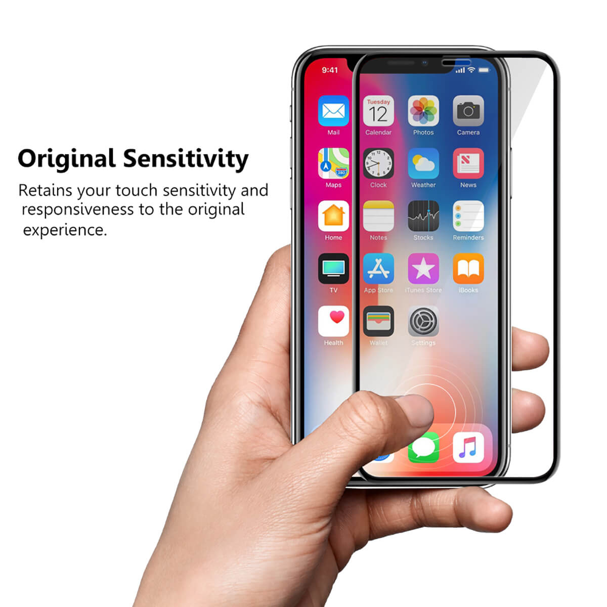 VMAX Apple iPhone X 3D Curved Full Cover Tempered Glass Screen Protector