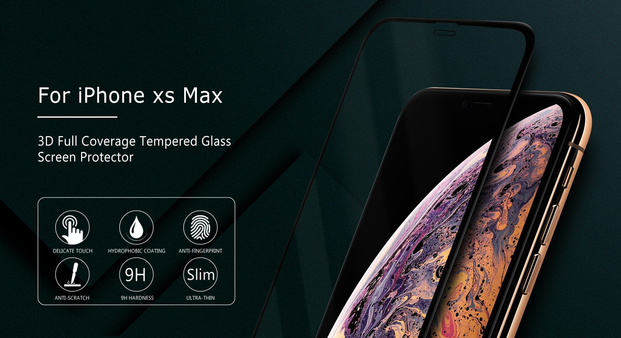 VMAX Apple iPhone XS Max 3D Curved Full Cover Tempered Glass Screen Protector