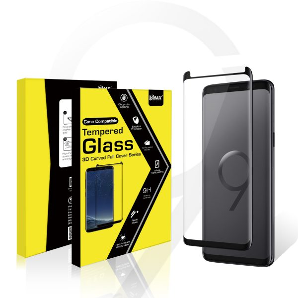 VMAX Samsung Galaxy S9 Plus 3D Curved Case Friendly Tempered Glass Screen Protector