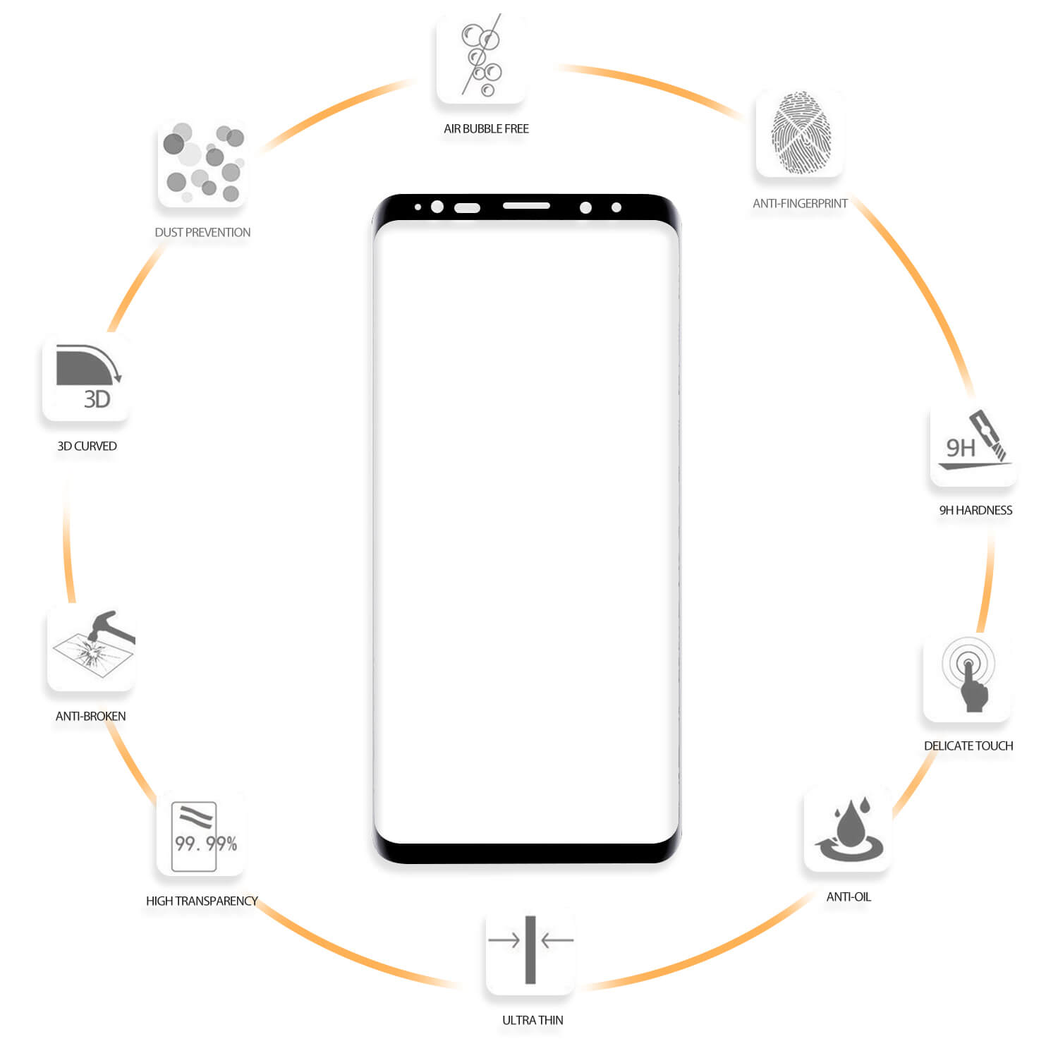 VMAX Samsung Galaxy S9 Plus 3D Curved Tempered Glass Screen Protector