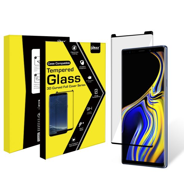 VMAX Samsung Galaxy Note 9 3D Case Friendly Full Cover Tempered Glass Screen Protector (Black)