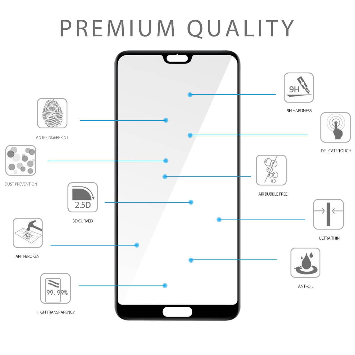 VMAX Huawei P20 2.5D Full Cover PremiumTempered Glass Screen Protector