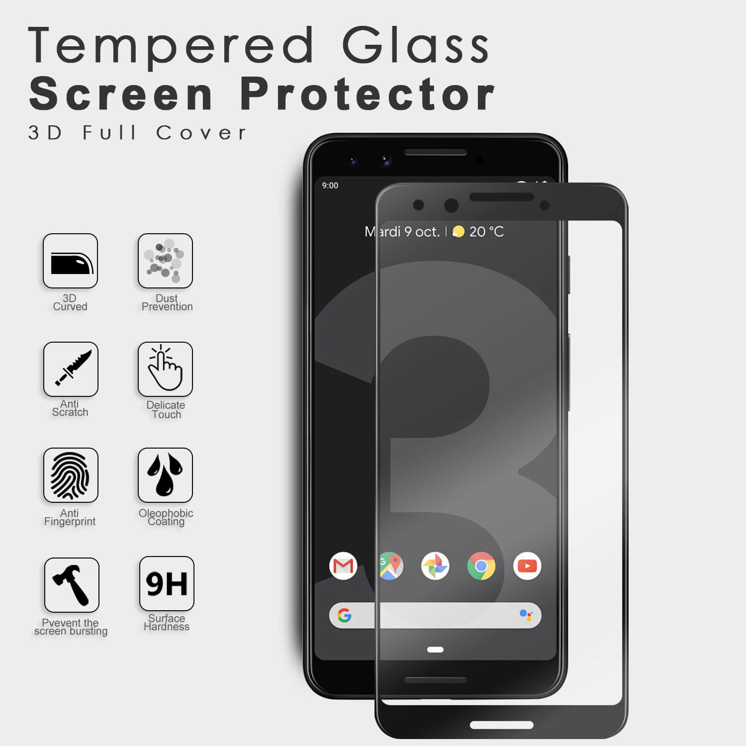 VMAX Google Piexl 3 3D Curved Full Size Tempered Glass Screen Protector