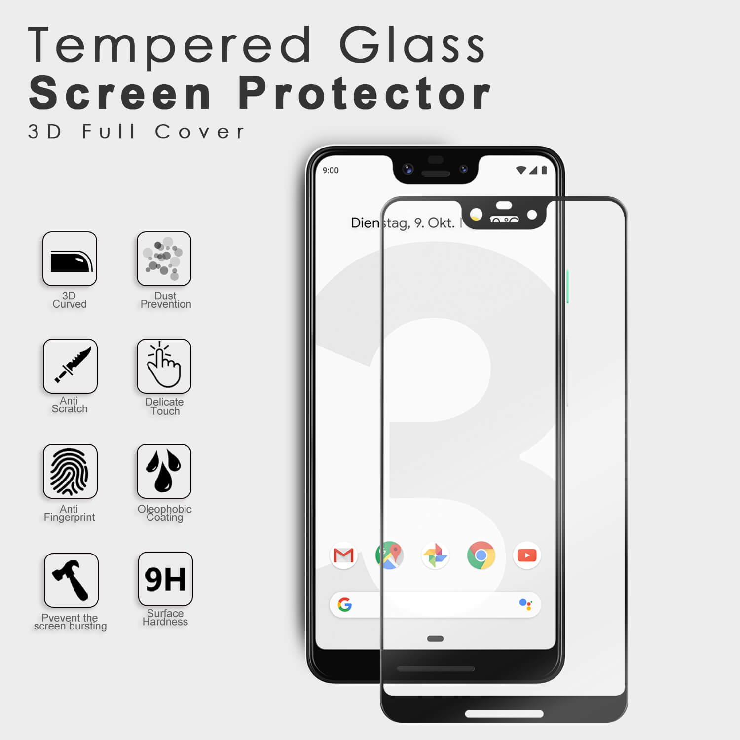 VMAX Google Piexl 3xl 3D Curved Full Size Tempered Glass Screen Protector