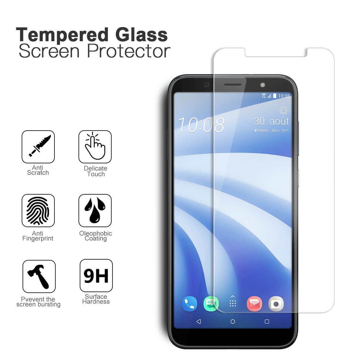 VMAX HTC U12 life HD Clear Tempered Glass Screen Protector