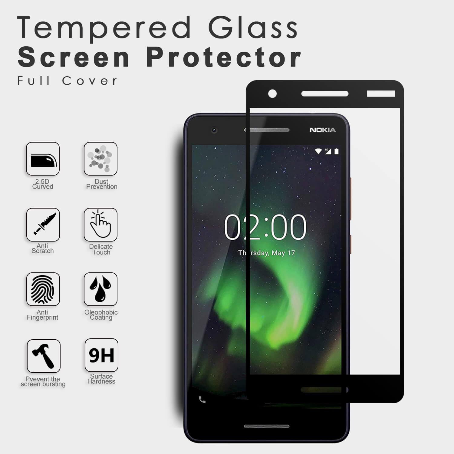 VMAX Nokia 2.1 2.5D Full Cover Tempered Glass Screen Protector