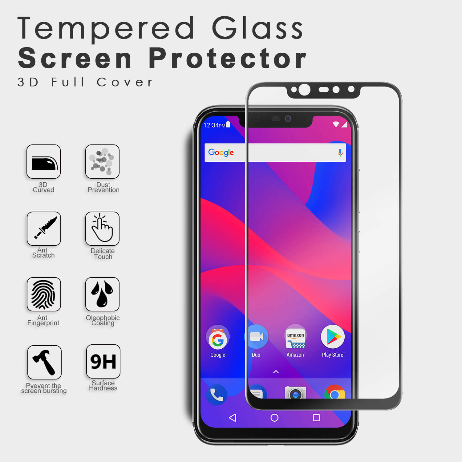 VMAX Blu Vivo Xi+ 3D Curved Full Size Tempered Glass Screen Protector