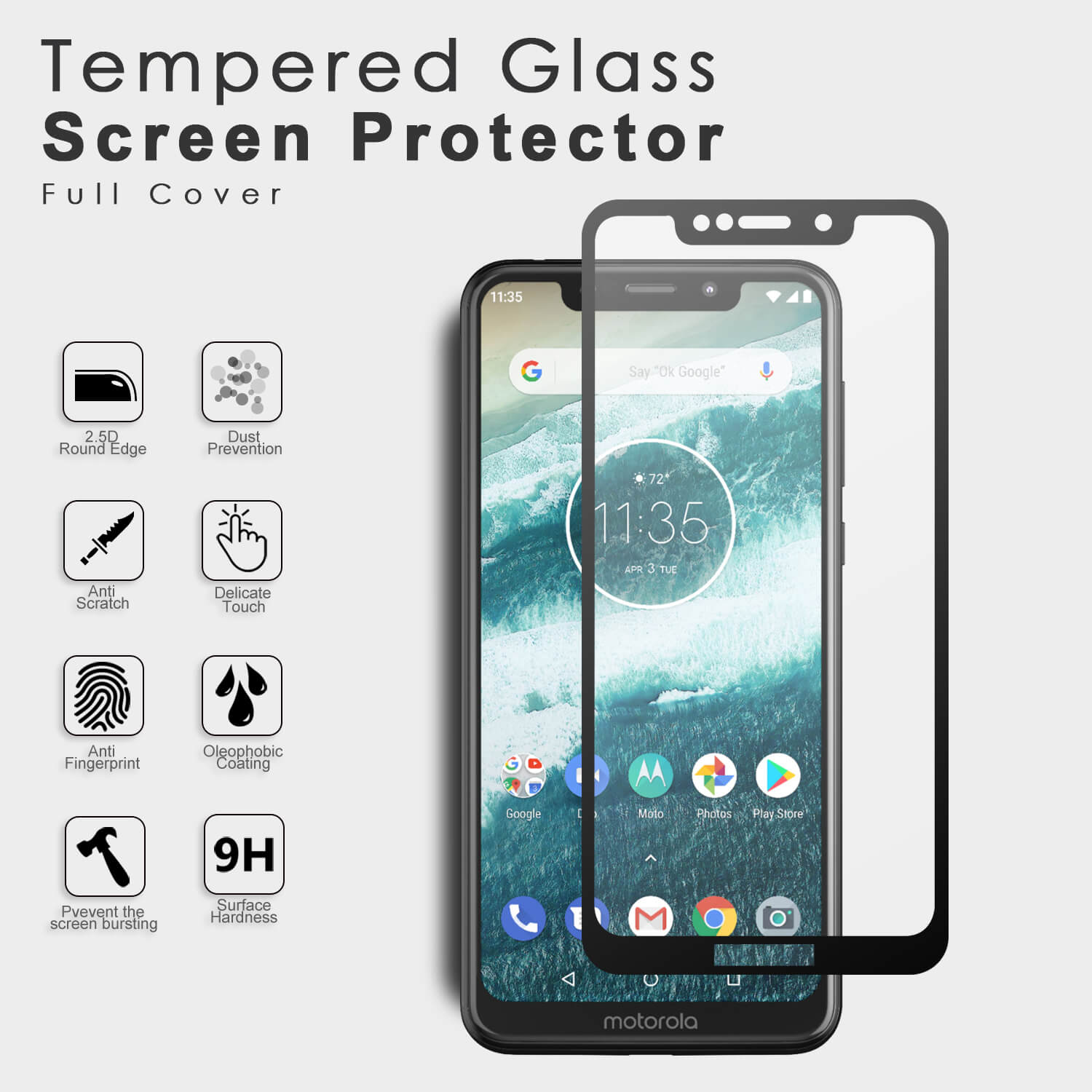 VMAX Motorola Moto One 2.5D Full Cover Tempered Glass Screen Protector