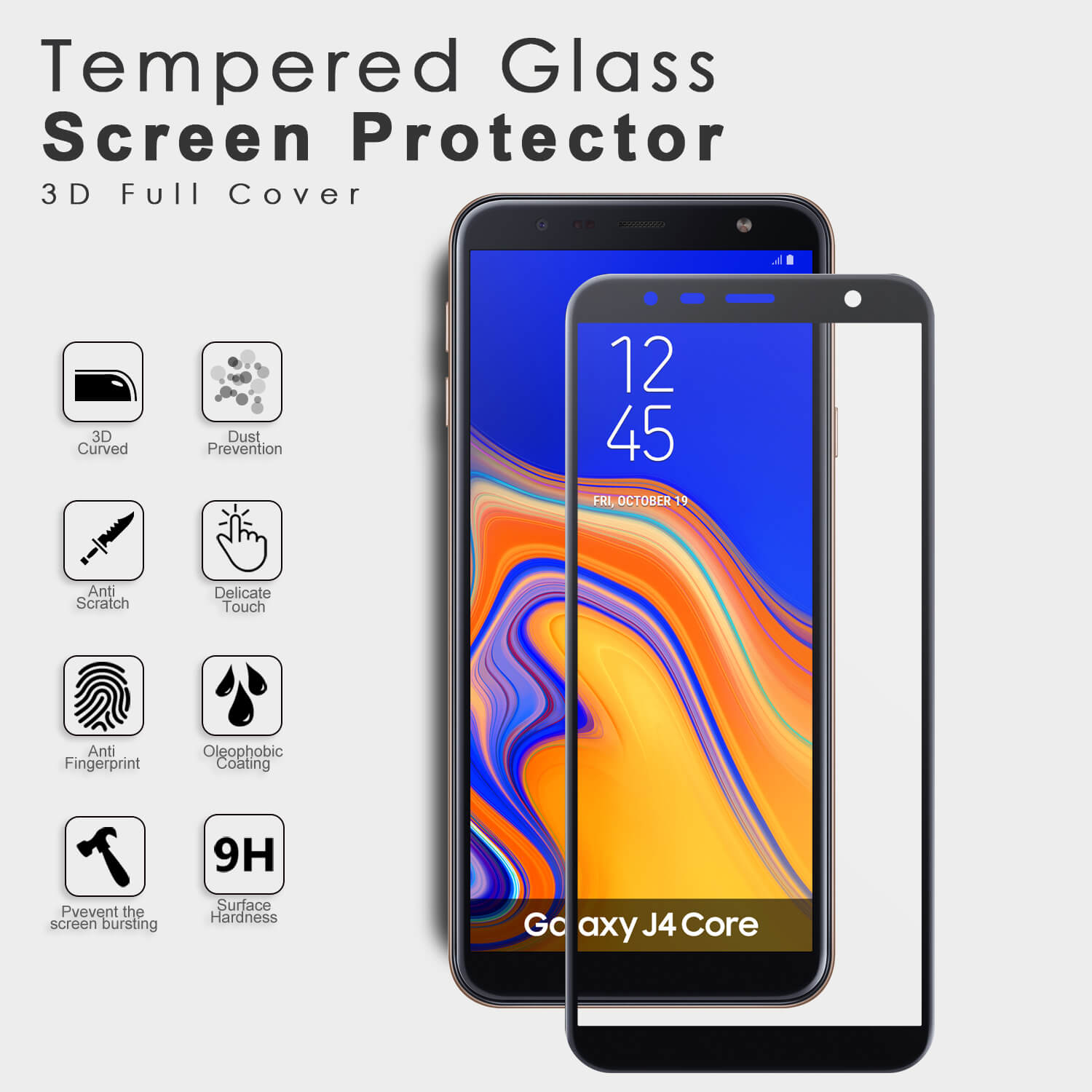 VMAX Samsung Galaxy J4 Core 3D Curved Full Cover Tempered Glass Screen Protector
