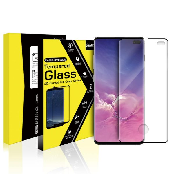VMAX Samsung Galaxy S10 Plus 3D Curved Tempered Glass Screen Protector Case Friendly