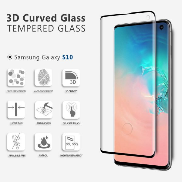 Samsung Galaxy S10 3D Curved Tempered Glass Screen Protector Compatible with Fingerprint Sensor