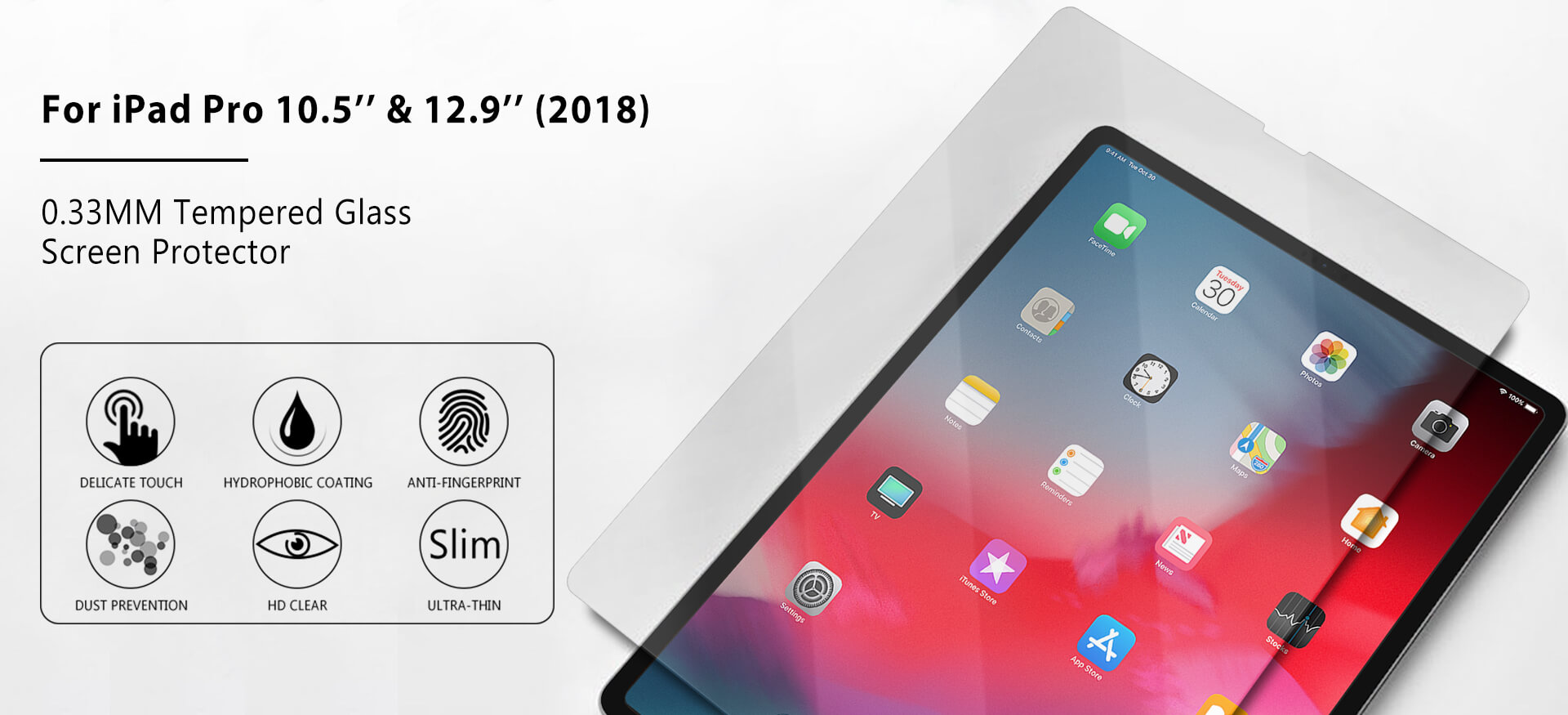VMAX iPad Pro (2018) 12.9inch HD Clear Round Edges Tempered Glass Screen Protector