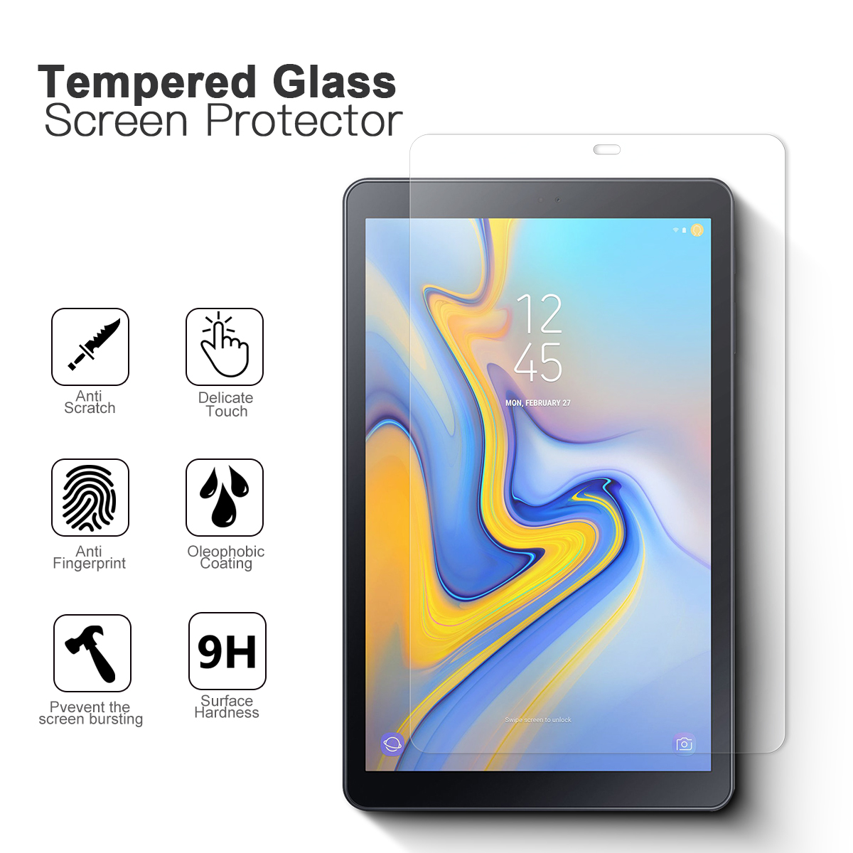 samsung galaxy tab a 10 5 high transparent tempered glass. Black Bedroom Furniture Sets. Home Design Ideas